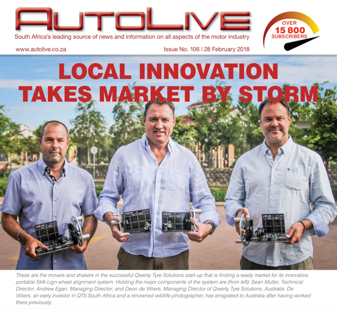 Qwerty Tyre Solutions shareholders published on the front page of Autolive Magazine